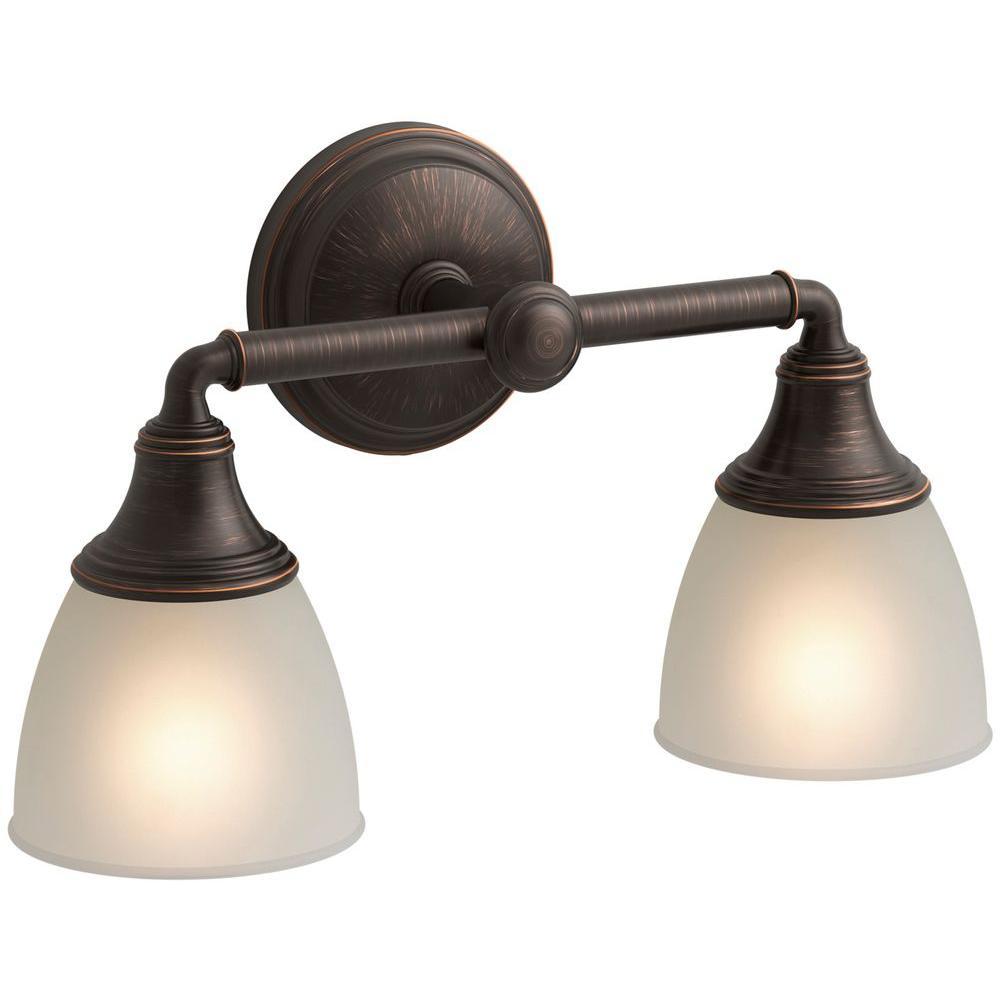Kohler devonshire 2 light oil rubbed bronze sconce k 10571 for Vibrant brushed bronze bathroom lighting
