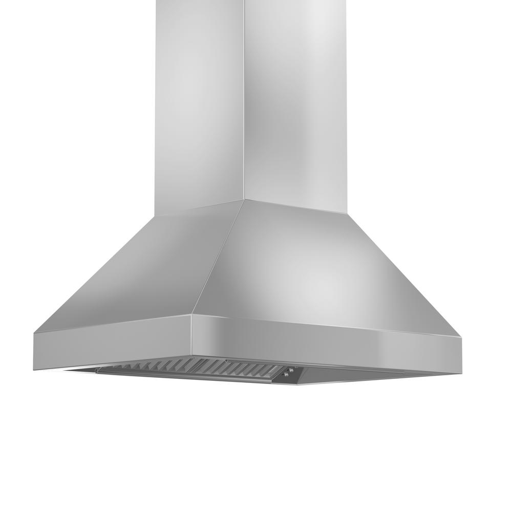 ZLINE Kitchen and Bath 36 in. 900 CFM Island Mount Convertible Range Hood in Stainless Steel, Brushed 430 Stainless Steel ZLINE 36 in. Traditional popular stainless steel Island Range Hood. Built for years of trouble free use. Easily Convertible to recirculating operation with purchase of carbon filters or standard configuration vents outside. Efficiently and quietly moves large volumes of air and fits ceilings up to 12 ft. with the purchase of the proper ZLINE extensions. Color: Brushed 430 Stainless Steel.