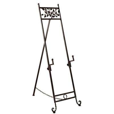 Floor Easel with Natural Accents and Adjustable Arms in Mahogany