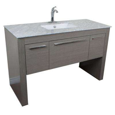Roslyn 55.3 in. W x 23.6 in. D Single Vanity in Gray with Marble Vanity Top in White with White Basin