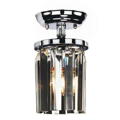 Timeless 1-Light Tri-Cut Glass and Chrome frame Flush Mount