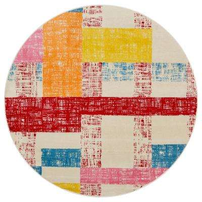 Whimsical Cream/Red 5 ft. Round Indoor Area Rug