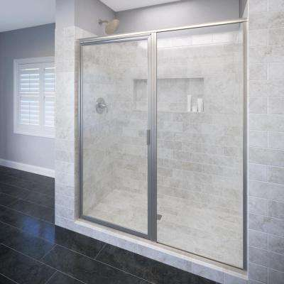 Deluxe 59 in. x 72-1/8 in. Framed Pivot Shower Door in Brushed Nickel with Clear Glass