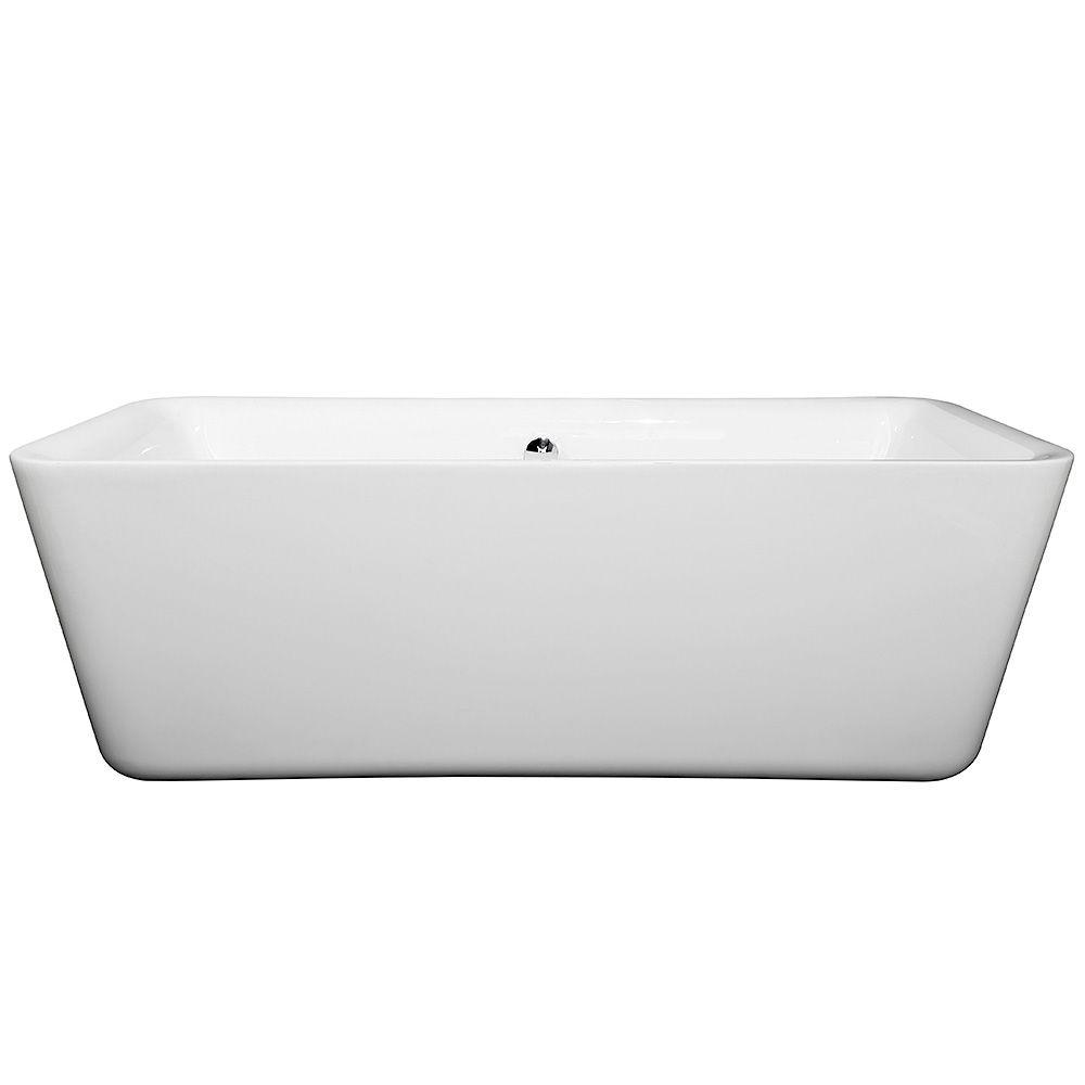 Wyndham Collection Emily 5.75 ft. Center Drain Soaking Tub in White