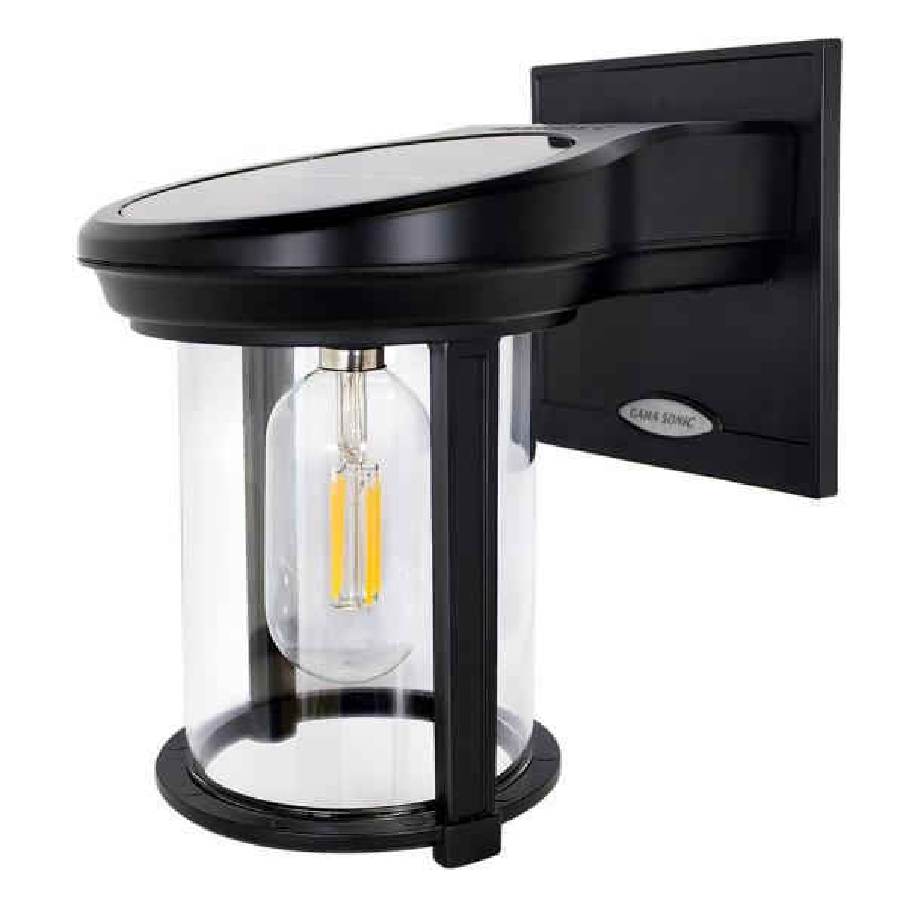 Solar Coach Lantern 1-Light Black Solar Outdoor Wall Lantern Sconce with Warm White Edison Bulb