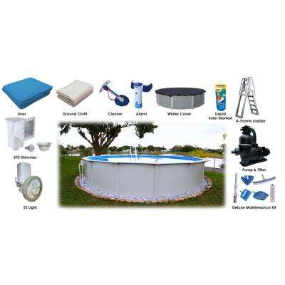 24 ft. Round x 52 in. D Above Ground Pool Package (11 Additional Items Included)