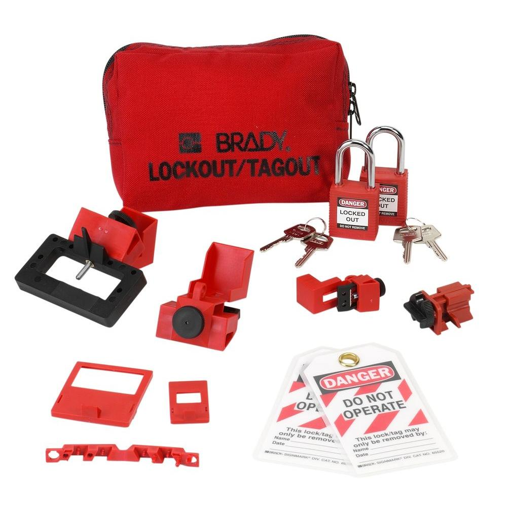 brady breaker lockout sampler pouch with safety padlocks and tags - Lock Out Tag Out Kits