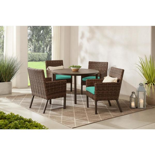 Fernlake 5-Piece Taupe Wicker Outdoor Patio Dining Set with CushionGuard Seaglass Turquoise Cushions