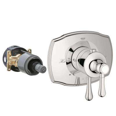 GrohFlex Authentic 2-Handle Dual Function Thermostatic Valve Trim Kit in Polished Nickel (Valve Sold Separately)