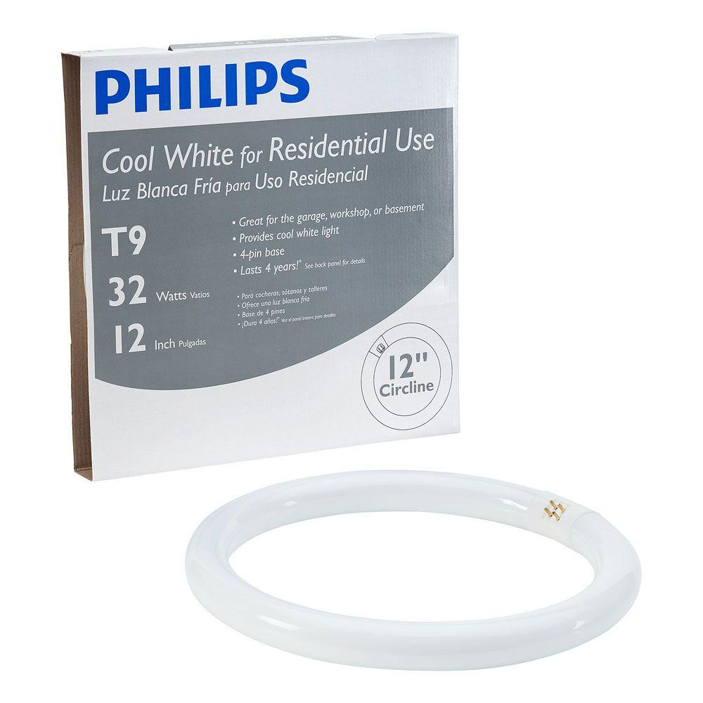 Philips 32-Watt 12 in. Linear T9 Fluorescent Light Bulb Cool White ...