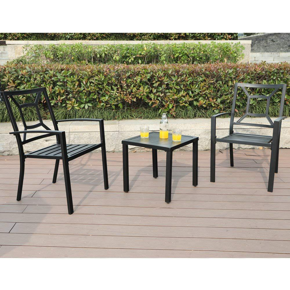 Nuu Garden Stacking Wrought Iron Outdoor Patio Bistro Chair 2 Pack