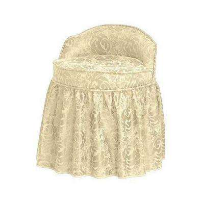 Delmar Swivel Lowback/Ivory Vanity Stool with Skirt