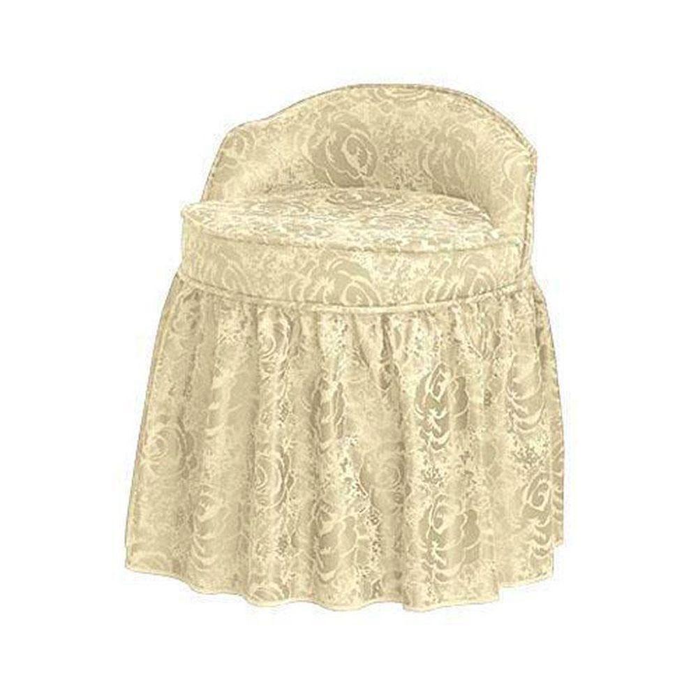 Delmar Swivel Lowback/Ivory Vanity Stool with Skirt