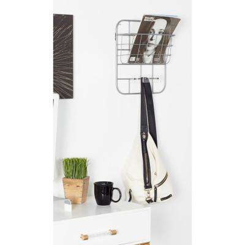 Gray Iron Wall-Mounted Basket Rack with Hooks