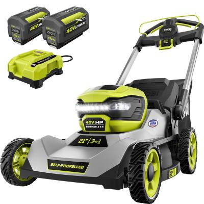 RYOBI 21-inch 40-Volt HP Lithium-Ion Brushless Cordless Walk Behind Self-Propelled Lawn Mower - Two 6.0 Ah Batteries & Charger