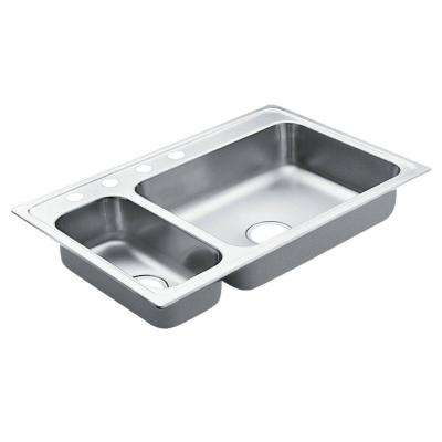 2000 Series Drop-in Stainless Steel 33 in. 4-Hole Double Basin Kitchen Sink