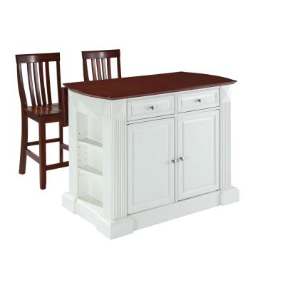 Coventry White Drop Leaf Kitchen Island with School House Stools