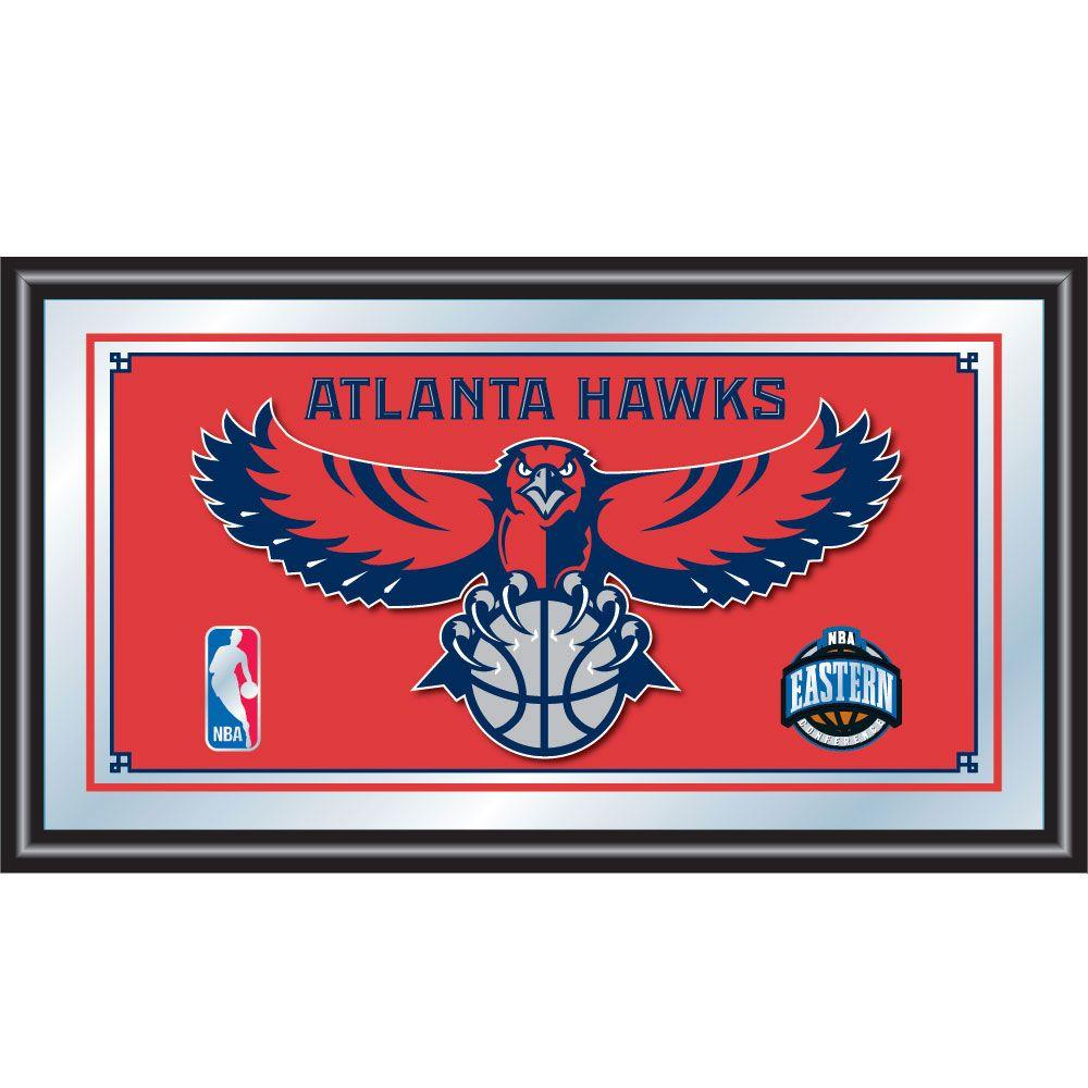 null Atlanta Hawks NBA 15 in. x 26 in. Black Wood Framed Mirror