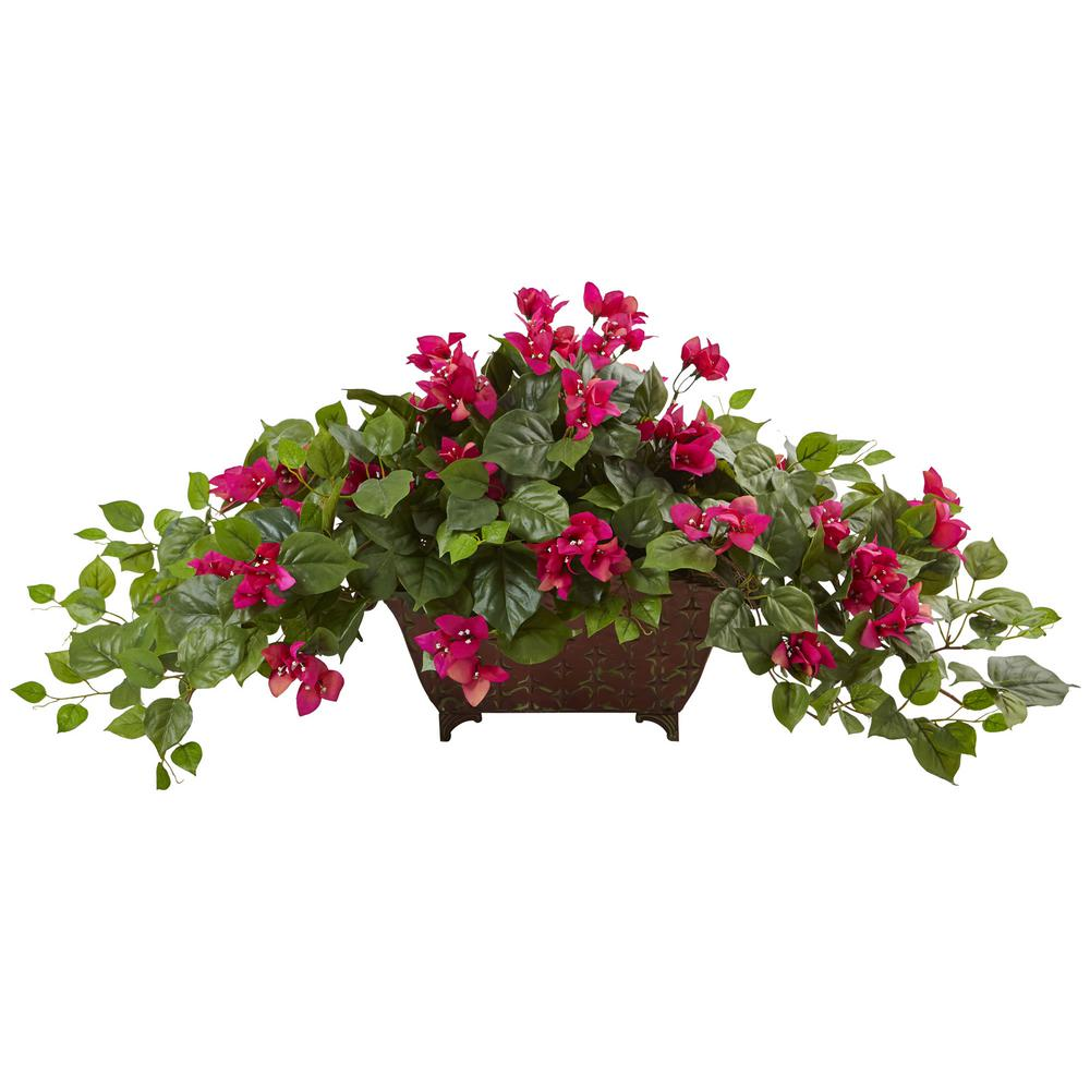 17 in. Bougainvillea in Metal Planter in Beauty