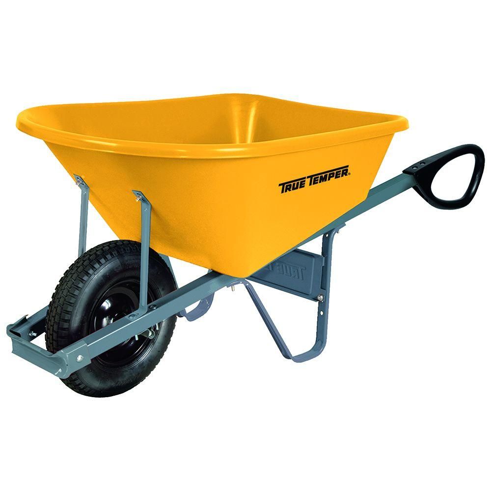 True Temper 6 cu. ft. Poly Wheelbarrow with Total Control Handles