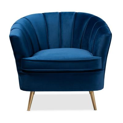Emeline Blue and Gold Fabric Accent Chair