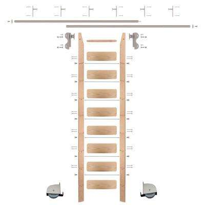 9 ft. Red Oak Ladder (10 ft. Reach) Satin Nickel Contemporary Rolling Hook Hardware 12 ft. Rail and Vertical Brackets
