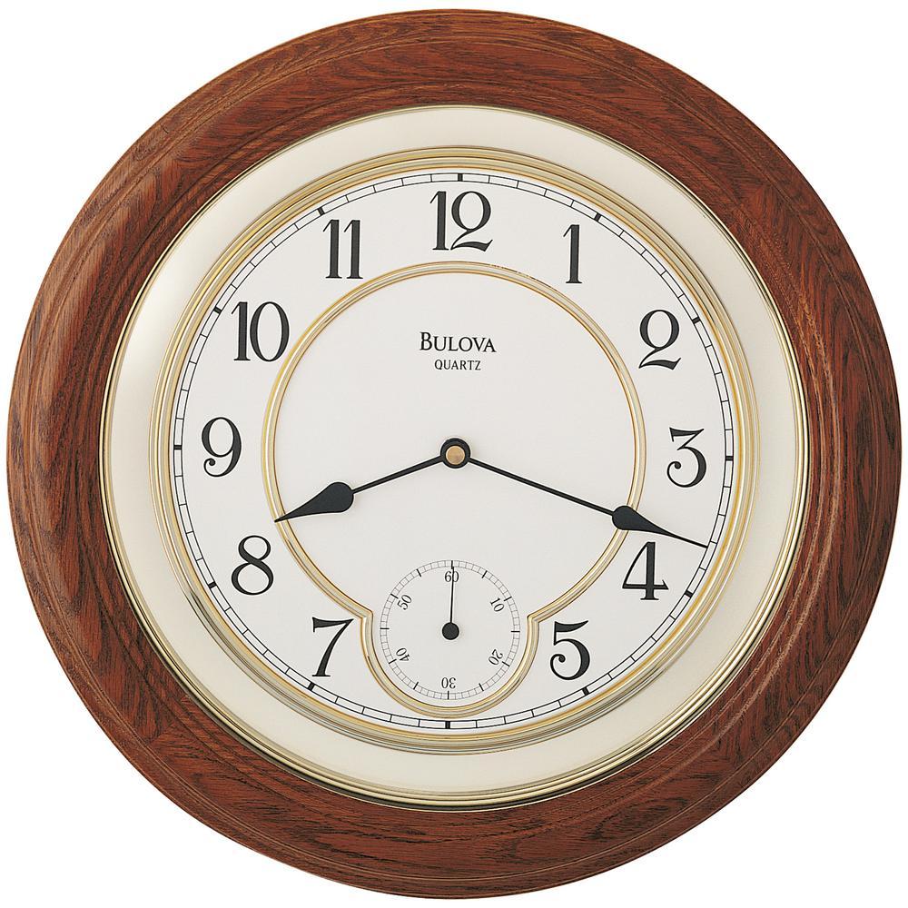 Bulova 14 in. Solid Oak Wall Clock-C4596 - The Home Depot