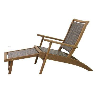 Brown Wicker and Eucalyptus Outdoor Lounge Chair with Built-in Ottoman