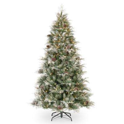 7.5 ft. Feel Real Frosted Mountain Spruce Hinged Artificial Tree with LED Lights