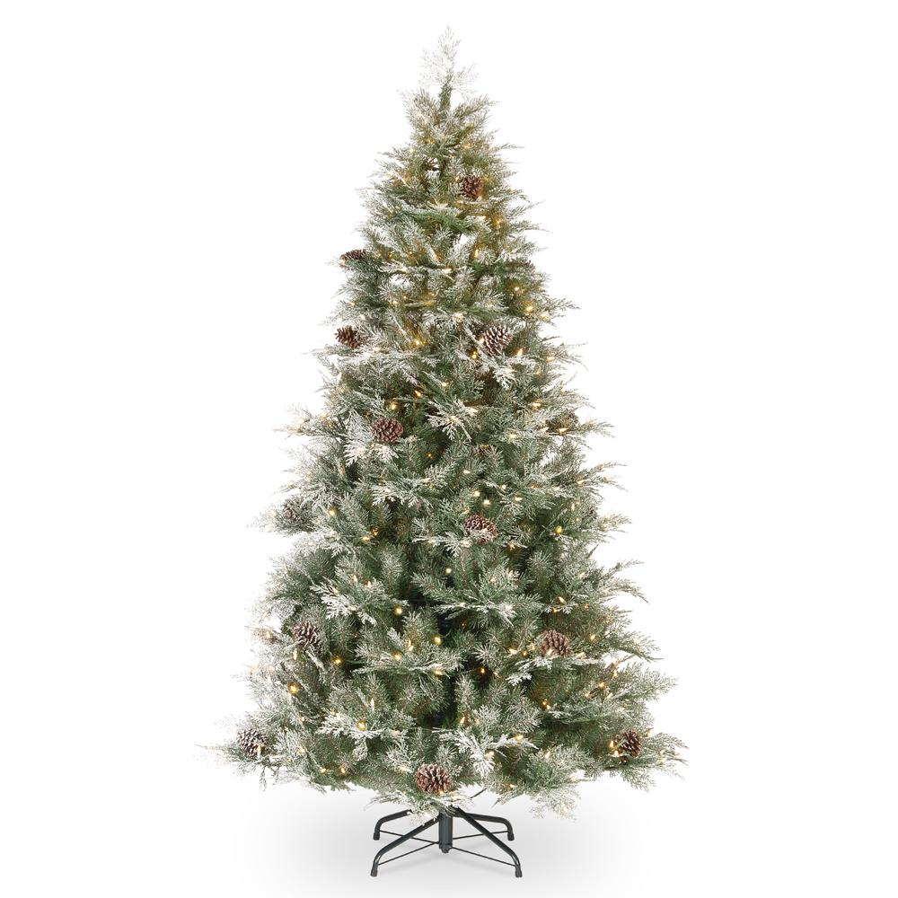 7.5 ft. Feel Real Frosted Mountain Spruce Hinged Artificial Tree with