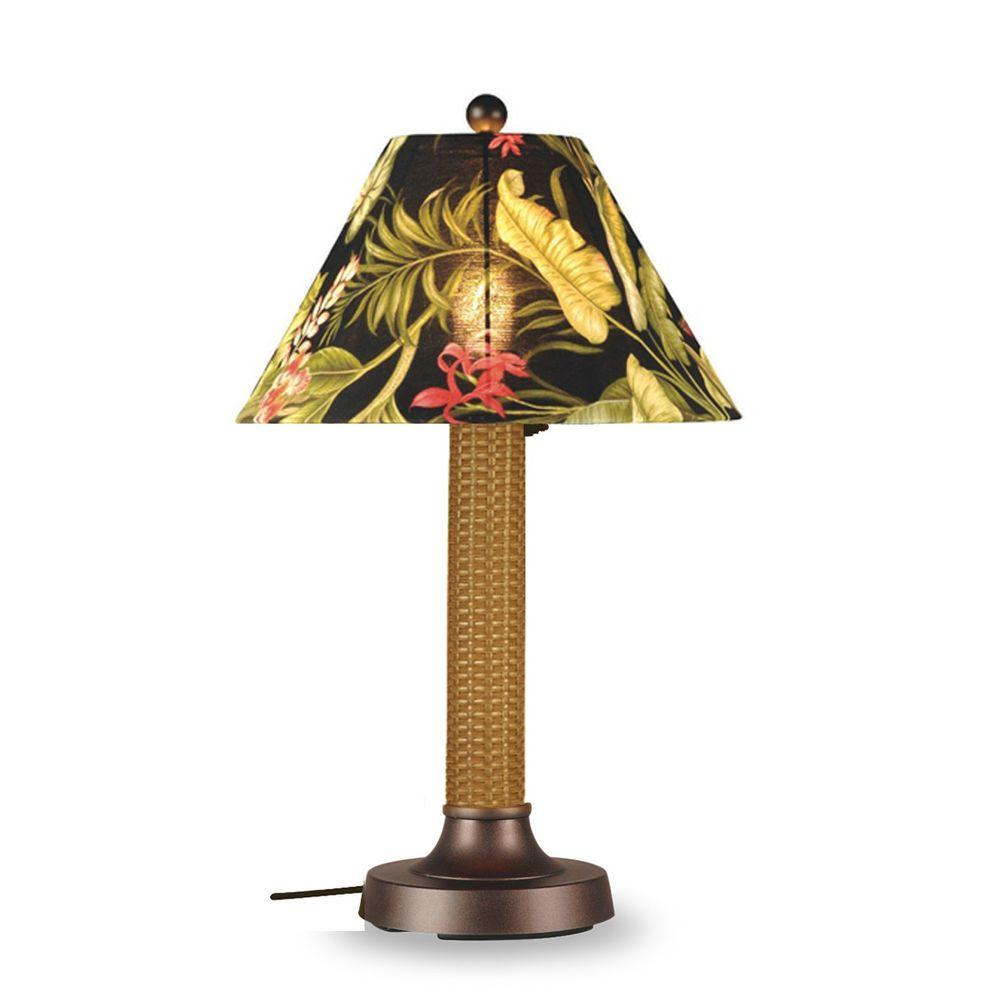 Patio Living Concepts Bahama Weave Mocha Cream Thick Weave 34 in. Outdoor Table Lamp with Ebony Shade Medium-DISCONTINUED