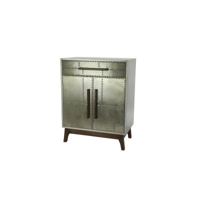 LITTON LANE Industrial Silver Metal Cabinet with Wood Handles and Feet