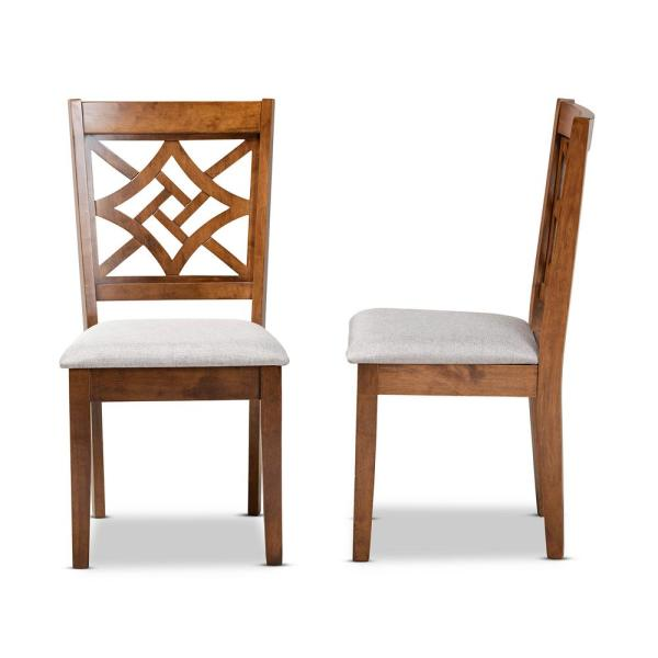 Baxton Studio Nicolette Grey And Walnut Brown Upholstered Dining Chair Set Of 2 176 2p 11387 Hd The Home Depot