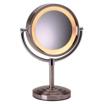 8-1/2 in. x 15 in. Round Lighted 5X Magnification Pedestal Makeup Mirror in Nickel