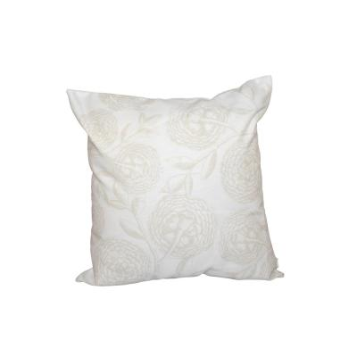 White Antique Flowers Floral Print Throw Pillow