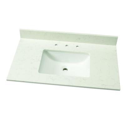 37 in. W Engineered Marble Single Vanity Top in Vanilla Sky with White Sink