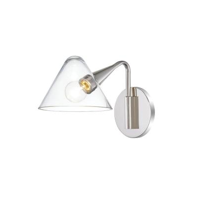 Isabella 1-Light Polished Nickel Wall Sconce with Clear Shade
