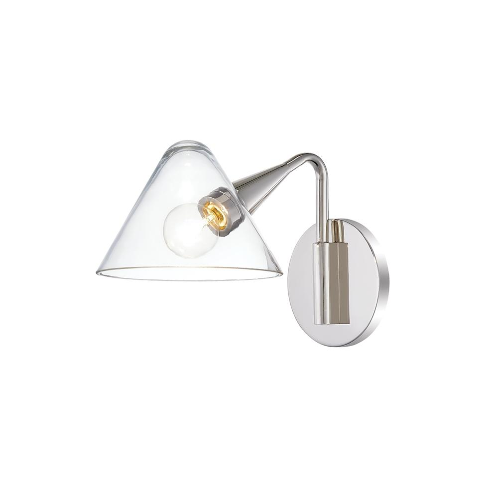 HUDSON VALLEY LIGHTING Isabella 1-Light Polished Nickel Wall Sconce with Clear Shade was $225.0 now $135.0 (40.0% off)