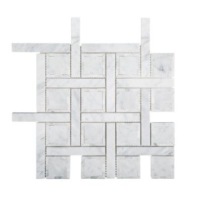Foxwood Manor White 12 in. x 12 in. x 8 mm Basket Weave Marble Wall and Floor Mosaic Tile