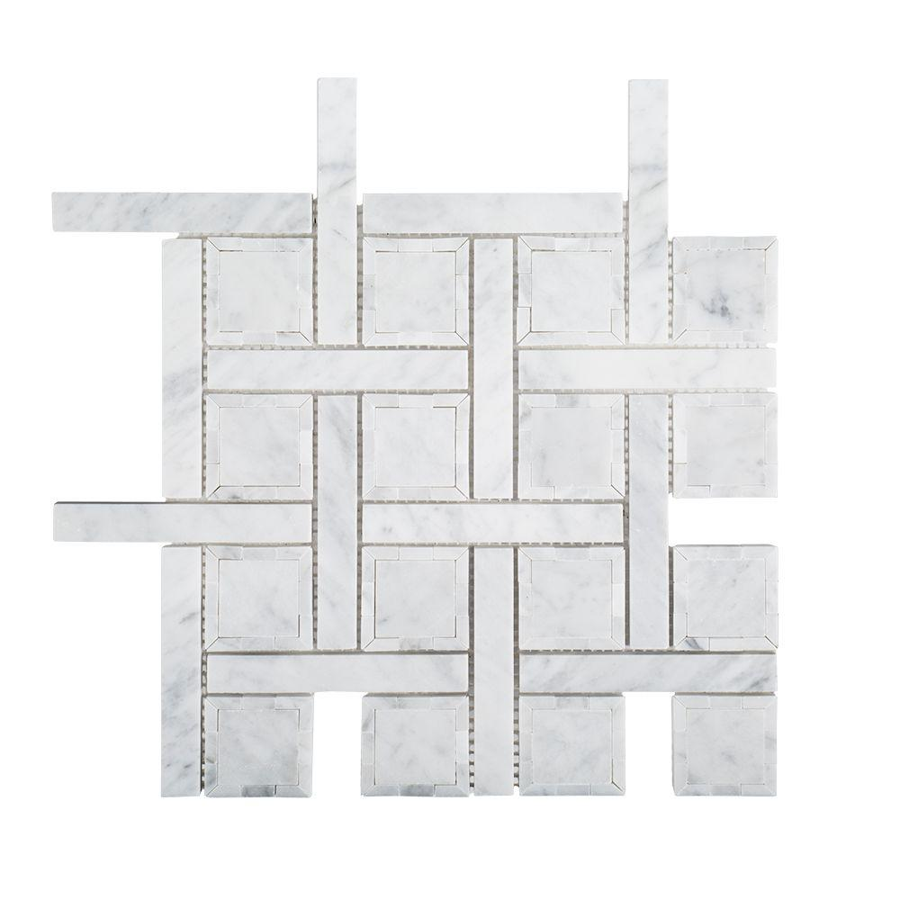 Jeffrey Court Foxwood Manor White Basket Weave 12 in. x 12 in. x 8 mm Marble Mosaic Wall/Floor Tile