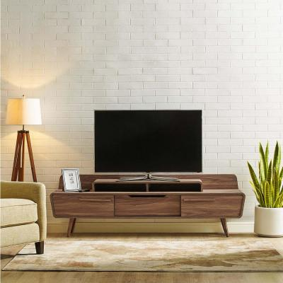 Omnistand 74 in. Walnut Wood TV Stand with 1 Drawer Fits TVs Up to 74 in. with Storage Doors