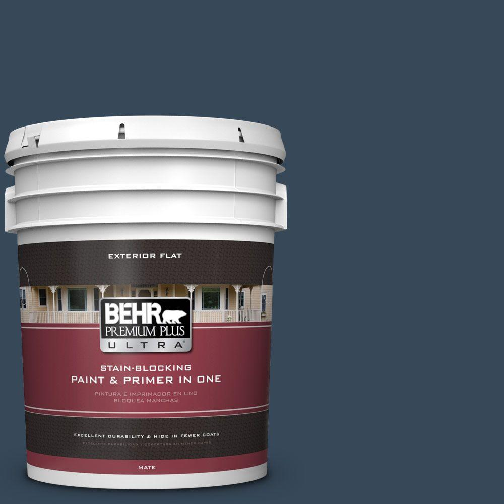 5-gal. #ECC-30-3 Night Tide Flat Exterior Paint