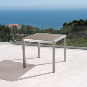 Cape Coral 30 in. Silver Square Aluminum Outdoor Dining Table