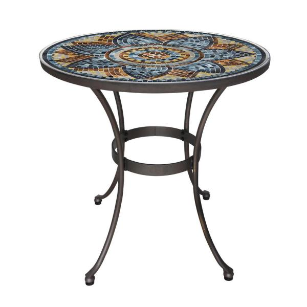 28 in. Metal and Glass Mosaic Patio Bistro Table