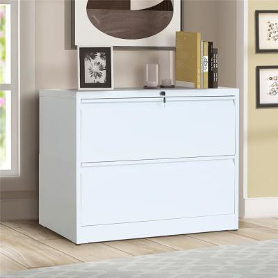 2-Drawer White Lateral File Cabinet with Lock and Key