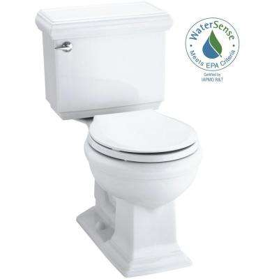 Memoirs Classic Comfort Height 2-piece 1.28 GPF Round Front Toilet in White with Cachet Q3 Toilet Seat