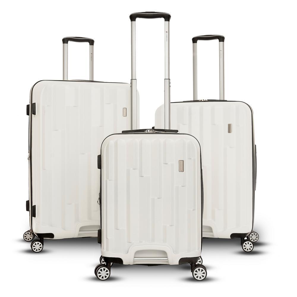 Avila 3-Piece White Hardside Upright Spinner Set