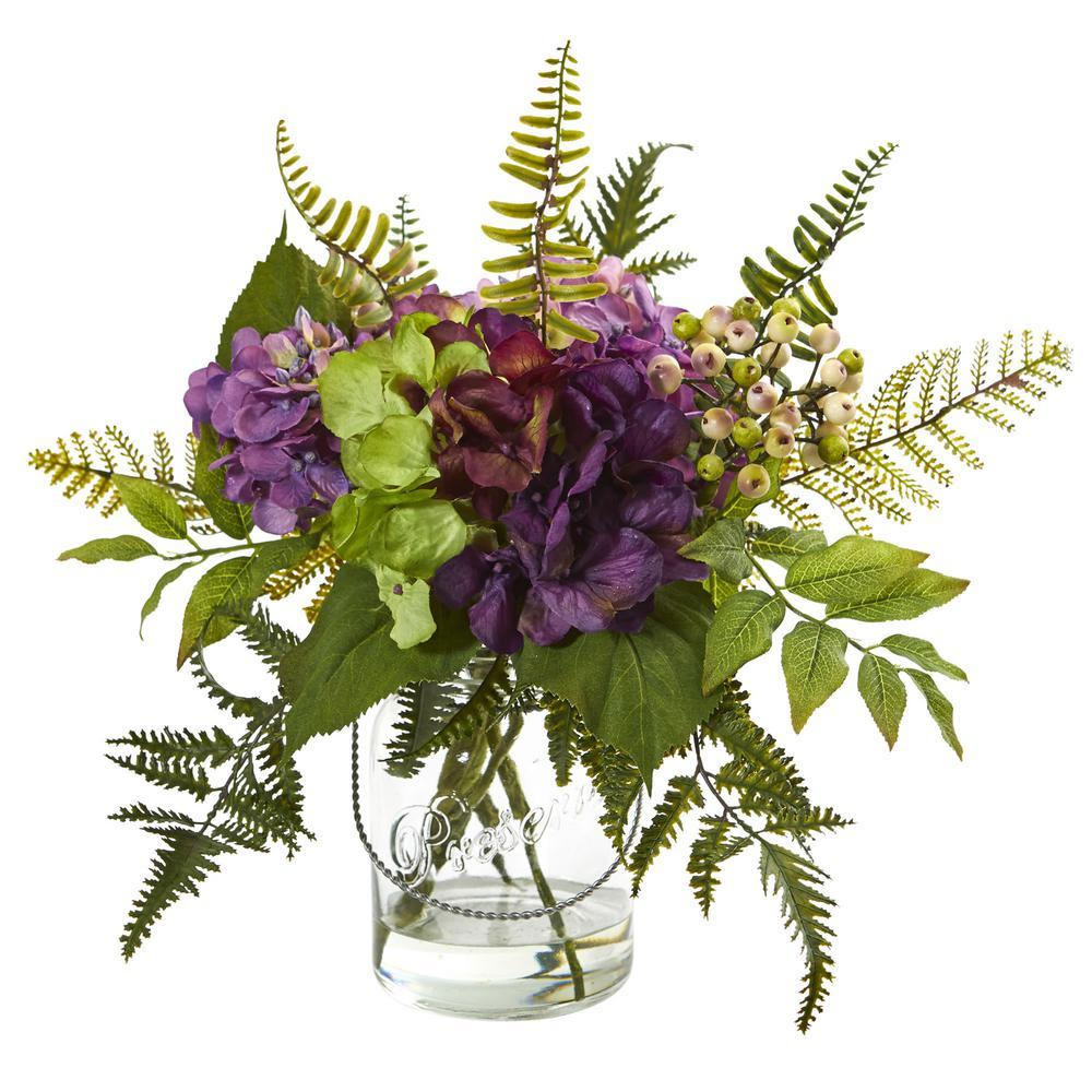 14 in. Indoor Hydrangea and Berry Artificial Arrangement
