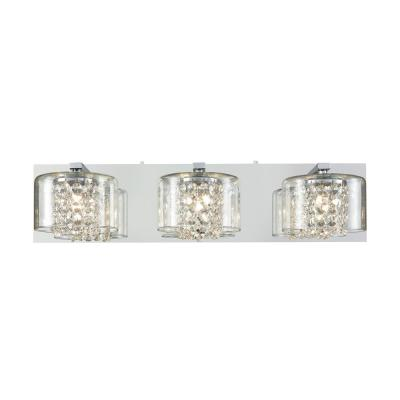 Springvale 3-Light Polished Chrome with Clear Crystal and Glass Bath Light
