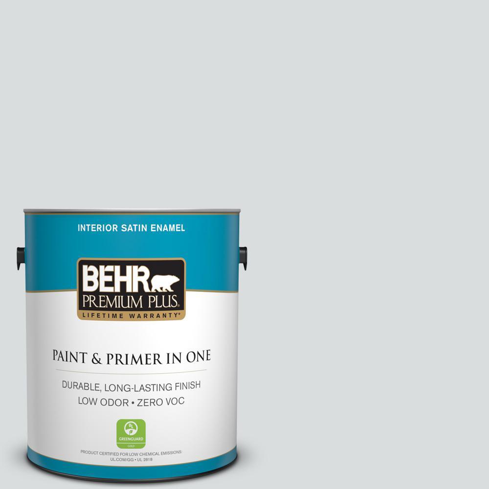 BEHR Premium Plus 1-gal. #ECC-33-2 Silver Sands Zero VOC Satin Enamel Interior Paint